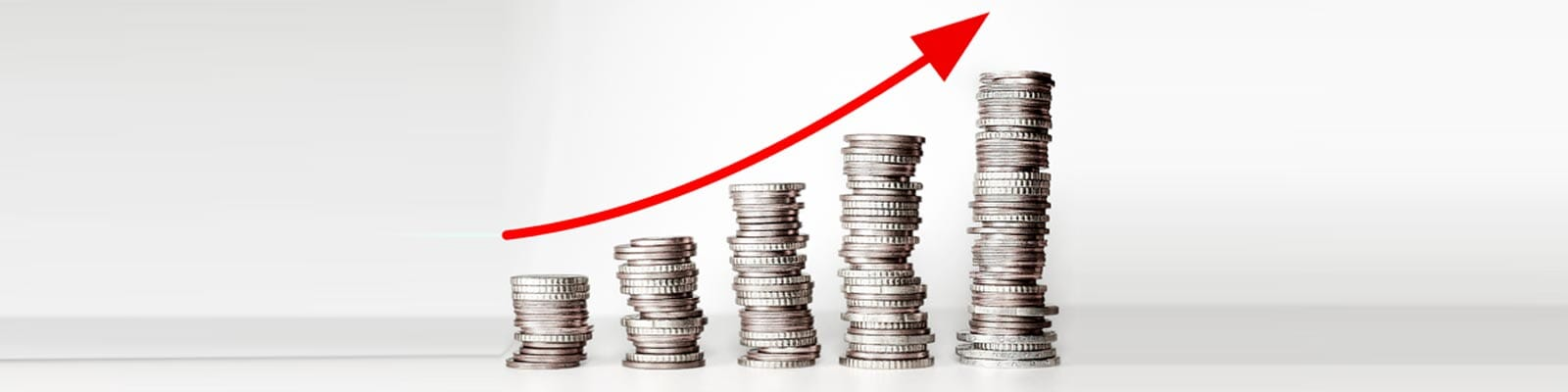 Stacks of coins with a rising red arrow for Lead internet Marketing's CRO
